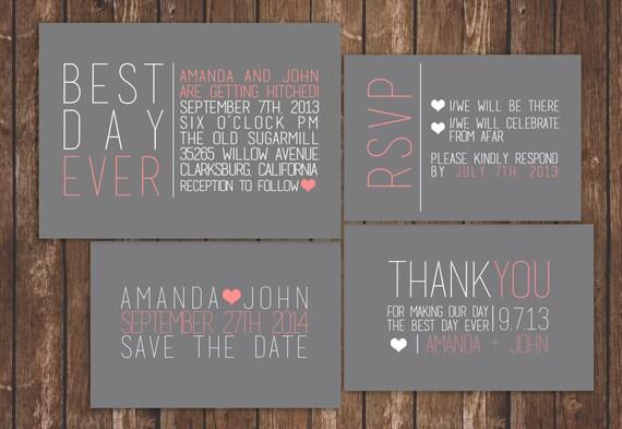 Best Wedding Invitations Ever: Best Day Ever Modern Wedding Invitation Printable Set
