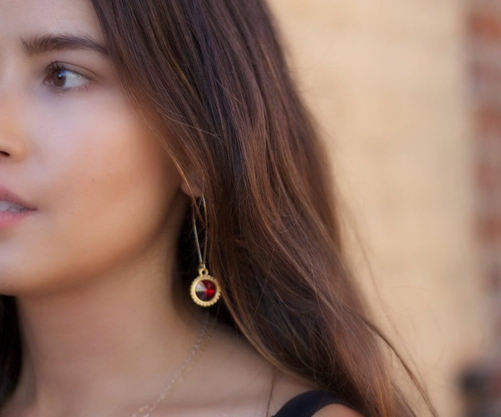 Hoop Earrings, Garnet Red Earrings, Something Blue Earrings, Bridesmaids Earrings, Crystal Earrings, Drop Earrings, Gold Earrings