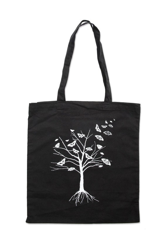 Black Tote Bag - Tree Tote Bag - Butterfly Tote - Black Butterfly Tree Tote Bag