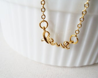 Love Necklace. A 14K Gold Plated Chain Necklace with a Gold Love Charm. 14k Gold Plated Chain. Valentine Necklace.