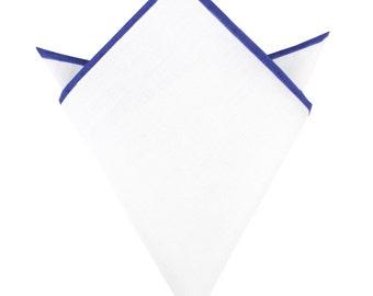 White Cotton Pocket Square with Purple Border (10-WCPS)Mens Classic Solid Hand Rolled Suit Handkerchief Color Edge Men Handkerchiefs Squares