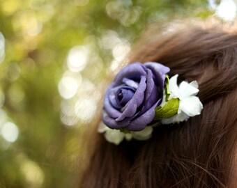 Euphrasia Deep Purple Rose Fascinator Comb