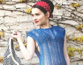 womens summer tunic dress - boho dress - royal blue dress - tunic dress - beach dress - bohemian