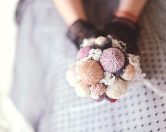 alternative bouquet - knit wedding - rustic chic - wedding bouquet - lace bouquet - rustic bouquet