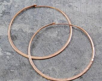 Rose Gold Hoop Earrings, Large Textured Earrings