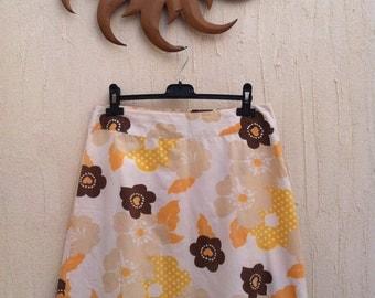 Vintage floral skirt - vintage flower print skirt - vintage floral cotton skirt