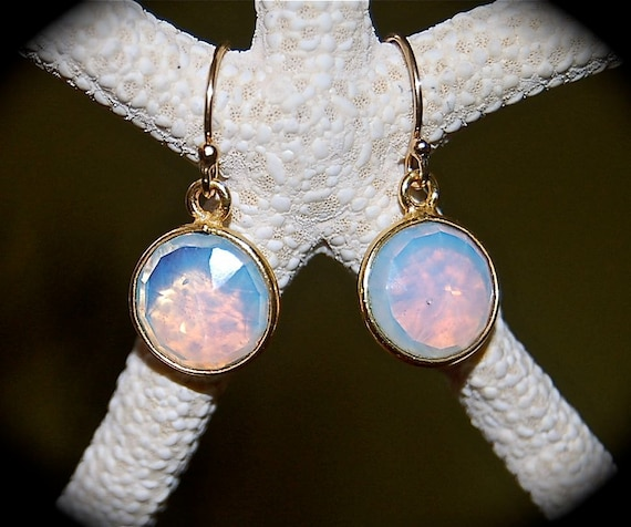 Small Round Opalite Stone Earrings
