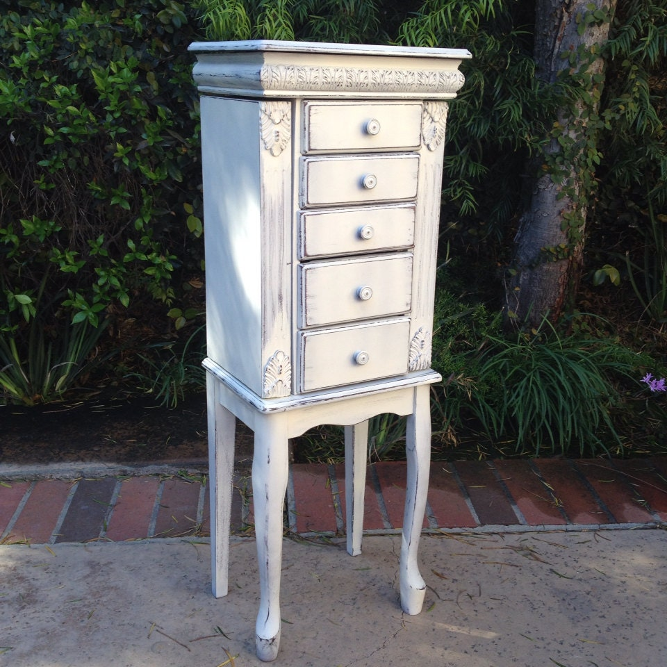 beautiful white jewelry armoire stand up jewelry box shabby. Black Bedroom Furniture Sets. Home Design Ideas