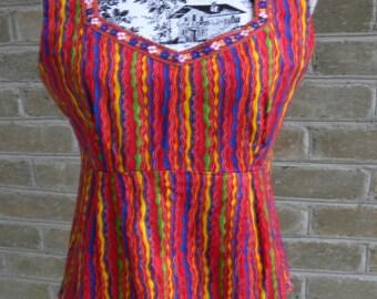Vintage Bright Boho Crop / Bright Striped Crop Top / Cropped Cotton Shirt / M