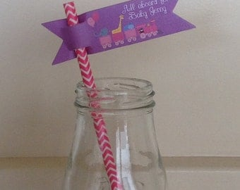 Birthday or Baby shower paper Straw Flags - Personalized   Paper Straw Flag Personalized Wedding Labels for Straws - set of 12