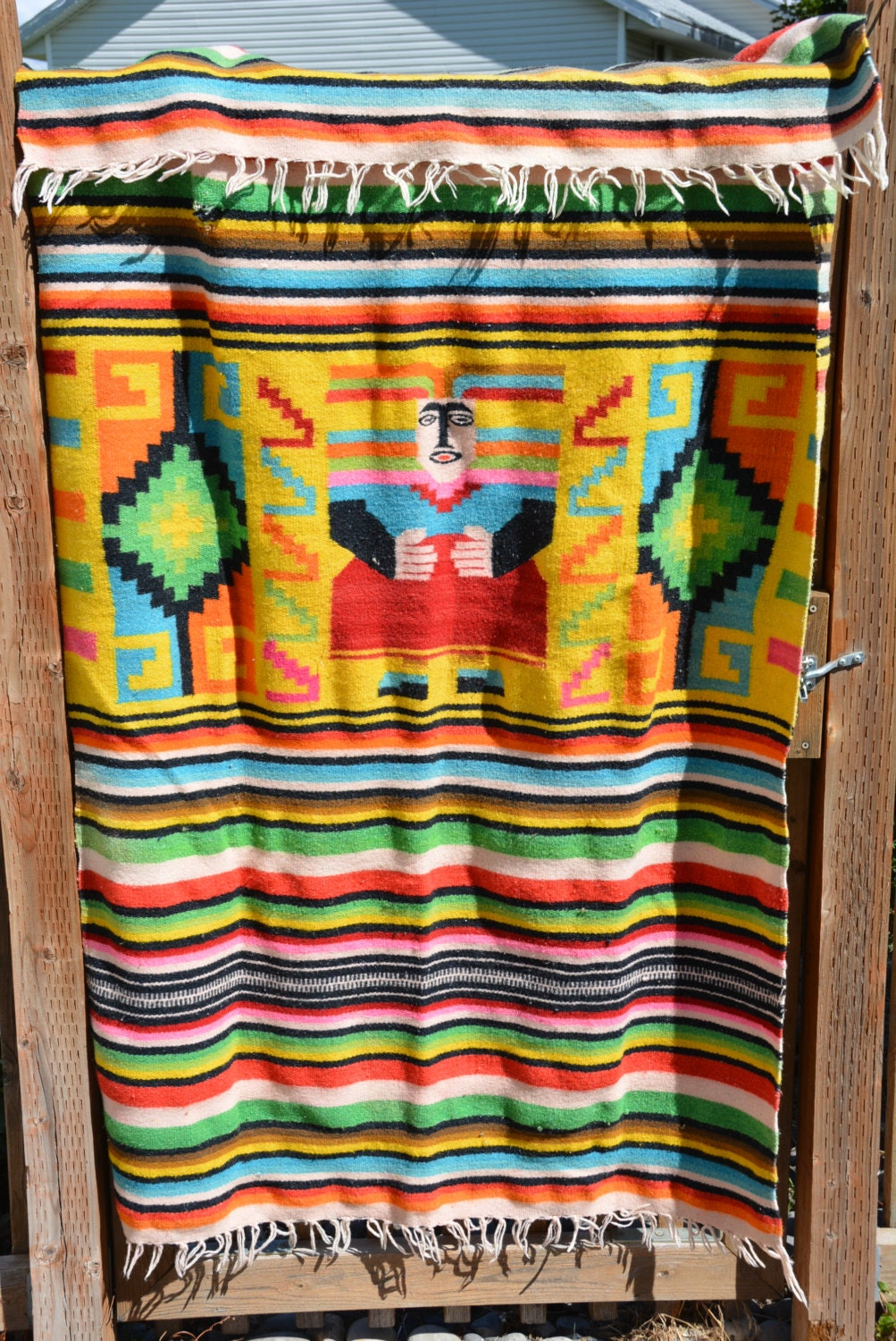 Vintage Mexican Wool Blanket Tapestry Wall By