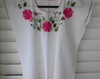 Women's floral blouse - White with strawberry and green embroidery