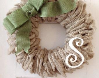Burlap Wreath-Green Burlap-Initial Wreath-Burlap Home Decor-Front Door-Burlap Bow-Door--Housewarming Gift-Burlap Decor-Wreath-Burlap Wreath