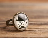 Mustache ring, glasses ring, adjustable ring, statement ring, antique brass ring, glass dome ring, antique bronze / silver plated ring base