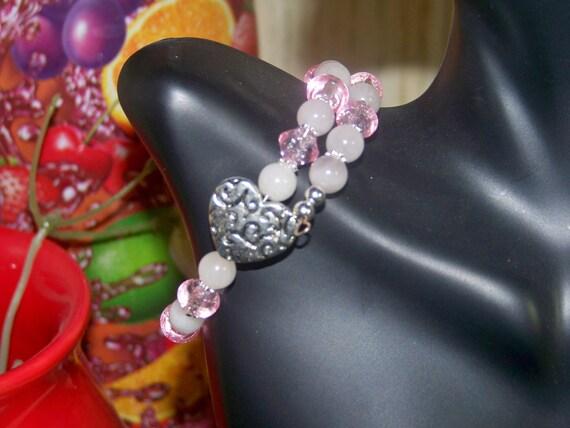 Bracelet - Rose Quartz, Pink Glitter, Silver Daisies, Antique Heart