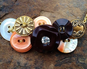 Sherbet Orange and Chocolate Brown Vintage Button Necklace
