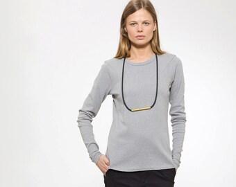 Women Shirt, Gray Tshirt, Long Sleeve Tee, Geometric Top