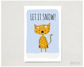 Funny Christmas Card - Let It Snow! - Christmas Card - Holiday Card