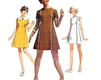 1960's Mini Dress, Mod A-Line, Sewing Pattern Junior Petite Size 9 Bust 33 Vintage Simplicity 8612