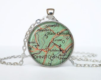 State College map pendant, State College map necklace, State College map jewelry, State College Pennsylvania