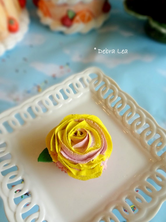 Fake Cupcake Handmade Spring Shabby Cottage Victorian Tea Party Rose Cupcake with Fondant Leaf Mother's Day Valentine's