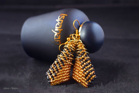 Black Golden Beaded Long Earrings