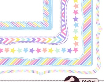 Digital Clipart Frame, Pastel Rainbow Party Graphics, Doodle Page Border Clip Art
