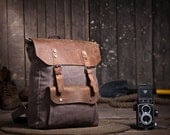 "Earthy Brown Backpack in a Canvas Leather Fusion, Student/College Bag, fits as a computer case for 15"" Laptops - VibrantLeathers"