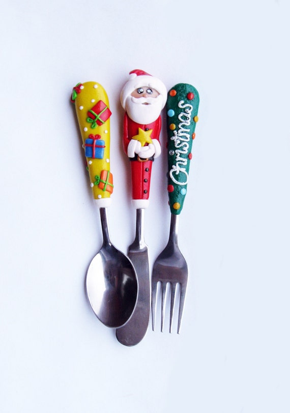 Christmas Childs Gifts Santa Claus Silverware Set By