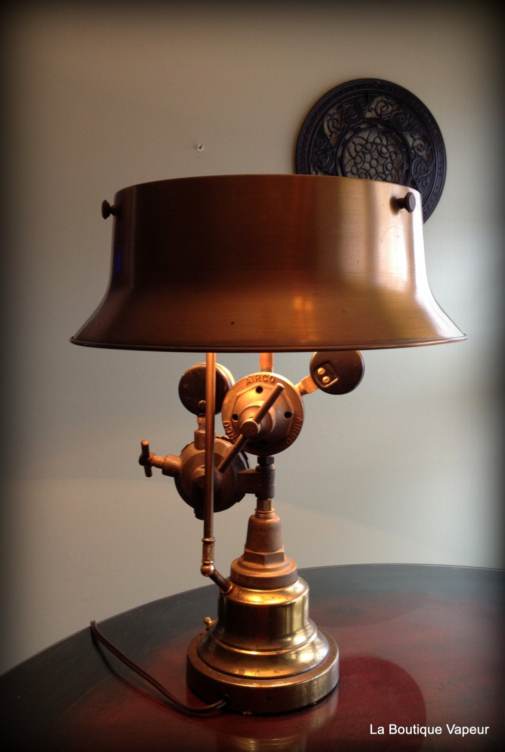 Handmade Steampunk Industrial Table Lamp Made From Vintage