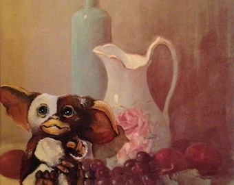 Gremlins Mogwai Gizmo Parody Painting, '11:59 PM' - Limited Edition Print or Poster - Funny Gremlins Gift, Gremlins Gizmo Print Parody