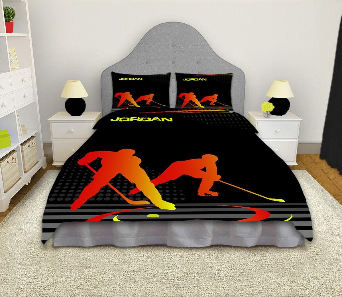 literie de hockey hockey sur housse de couette les gar ons. Black Bedroom Furniture Sets. Home Design Ideas