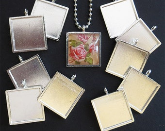25 Small Square Pendant Trays - Photo Trays - Cabochon Trays - Cabochon Settings