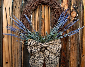 French Country Lavender Wreath - Rustic Wreath -Choice of Bow - Door Wreath - Oval Wreath -Year Round Wreath