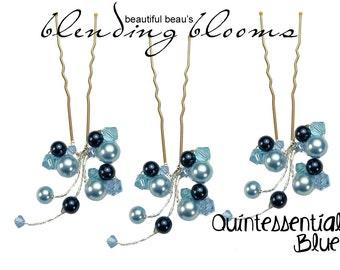 Powder Blue, Aquamarine, Midnight Blue Hair Pin wedding hair accessory, bridal hair accessory, bridesmaid hair accessory wedding hair grip