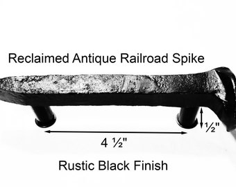 "4 1/2"" Right Black Railroad Spike Cupboard Handle Dresser Drawer Pull Cabinet Knob Antique Vintage Old Rustic Re-purposed House Restoration"