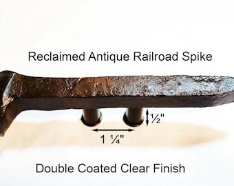 "1 1/4"" Left Sealed Railroad Spike Cupboard Handle Dresser Drawer Pull Cabinet Knob Antique Vintage Old Rustic Re-purposed House Restoration"