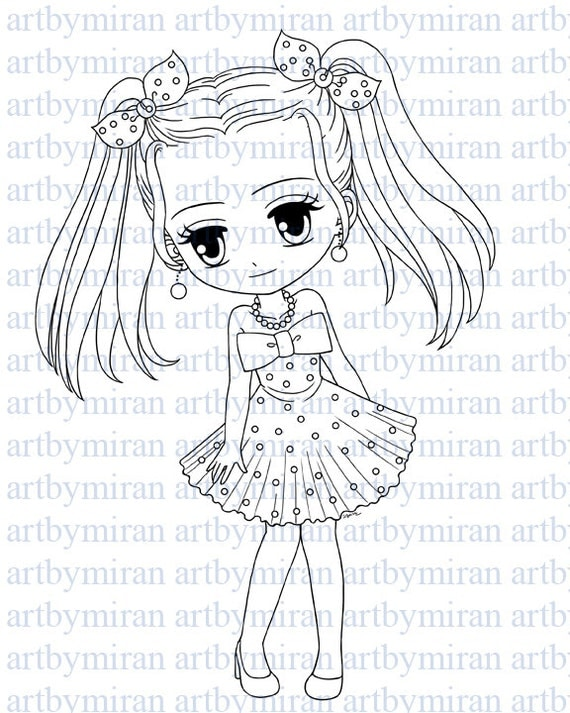 Digital Stamp-Cutie Pie Hailey, Digi Stamp, Coloring page, Printable Line art for Card and Craft Supply