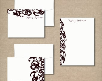 Complete Personalized Stationery Set - DAMASK DESIGN - Personalized Stationery / Stationary - choose your color