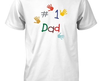 Number 1 #1 Dad Handprints T-Shirt Father's Day Gift for Men