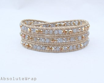 Gray gold crystal wrap bracelet on soft polyester cord, beige, triple wrap bracelet