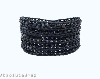 Black crystal wrap bracelet on leather cord, black wrap bracelet