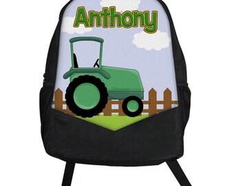 Custom Personalized TRACTOR Farm Kids Boy Backpack tote School Camp Monogram