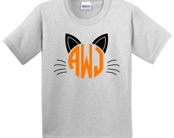 Personalized Monogrammed Cat T shirt Kitty Tshirt Kitten tee Lots of Colors - Party Event Infant through Teen Cat Ears Meow!