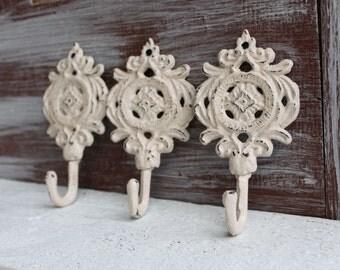 Decorative Wall Hooks, Beige Ivory Hooks, French Country Decor, Cottage Chic Hooks,  Small Towel Hooks, Key Holder, Key hooks Set of 3