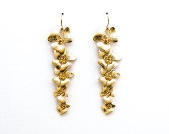 Orchid Earrings, Five Flower Earrings, Dangle Earrings, Wedding Jewelry, Bridesmaid Jewelry, Mother's Day, Graduation Gift