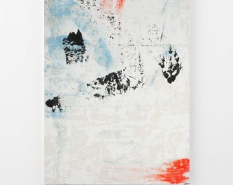 Wall art large abstract painting canvas art huge painting black orange light blue coral canvas painting huge painting