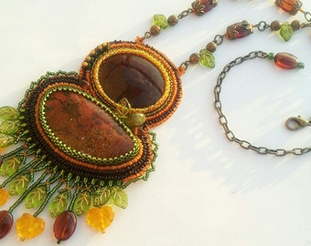 """Bead Embroidered Necklace """"Fall Harvest"""""""