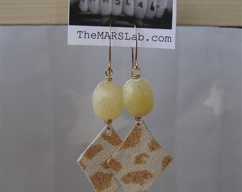 Yellow Opal and Leather Earrings