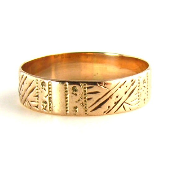 Wedding Band Antique Victorian 1893 Rose Gold Band